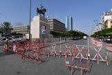 L'avenue Habib-Bourguiba barricadée, à Tunis, le 27juillet2021.