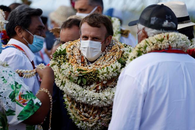 French President Emmanuel Macron in Manihi, in the Tuamotu archipelago, French Polynesia, July 26, 2021.