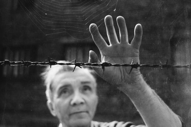 Portrait d'après-guerre d'Aleksander Kulisiewicz, debout devant une clôture de barbelés dans un camp de concentration en 1977.