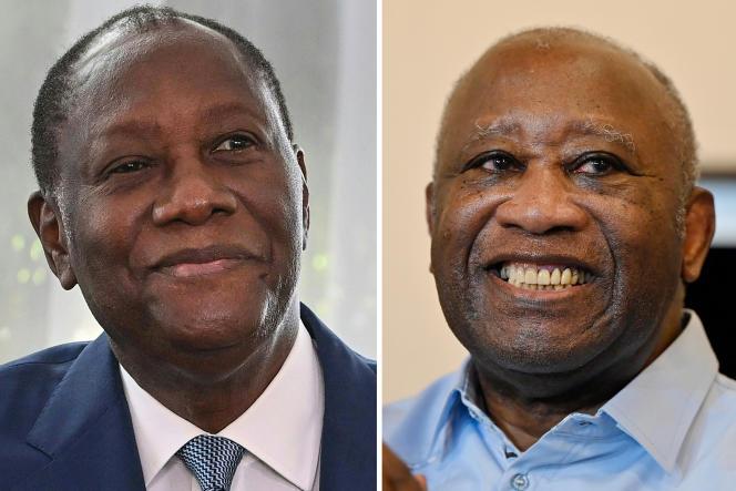 Le président ivoirien Alassane Ouattara (à gauche) et l'ancien chef de l'Etat Laurent Gbagbo.