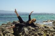 Barbara Carlotti, sur la plage de la citadelle d'Ajaccio, en Corse , le 27 mai 2021.
