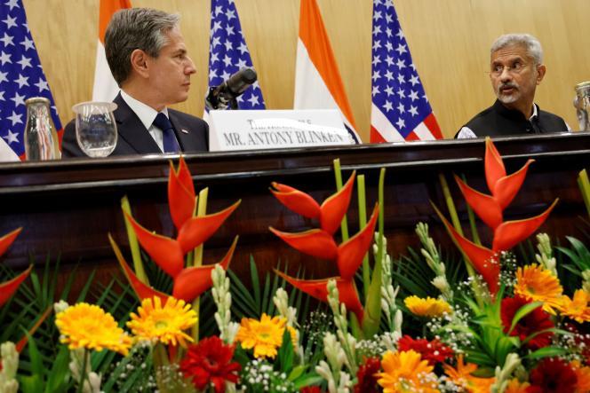 Le ministre des affaires étrangères indien, Subrahmanyam Jaishankar, et le secrétaire d'Etat américain, Antony Blinken,lors d'une conférence de presse à New Delhi, le 28 juillet 2021.