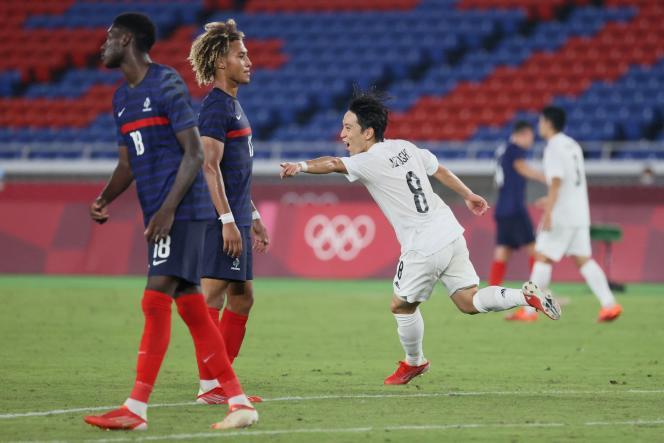 L'équipe de France de football éliminée du tournoi olympique après sa défaite contre le Japon, le 28 juillet.