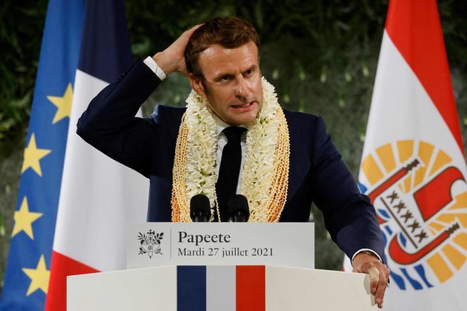 Emmanuel Macron, à Papeete, en Polynésie française, le 27 juillet 2021.