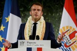 Emmanuel Macron s'exprime depuis Papeete, en Polynésie, mardi 27 juillet.