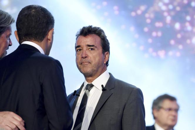 Arnaud Lagardère, président-directeur général du groupe Lagardère, à l'assemblée générale du groupe le 3 mai 2018 à Paris.