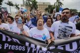 Des membres du Centre nicaraguayen des droits de l'homme (CENIDH), participent à une manifestation à Managua,le 10 décembre 2019.
