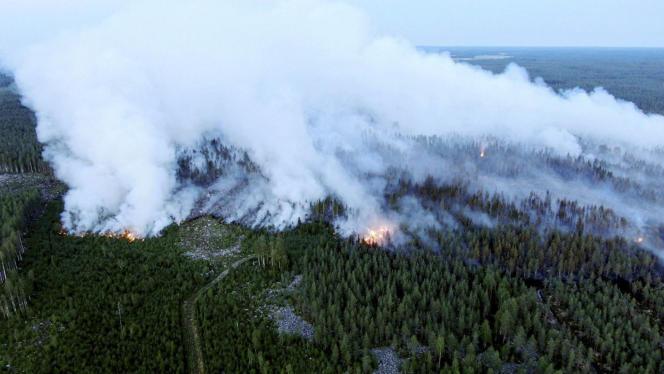 L'incendie, qui s'est déclaré lundi 26 juillet, a faibli vendredi 30 juillet en raison notamment de pluies dans le secteur, mais il n'est pas encore entièrement sous contrôle.
