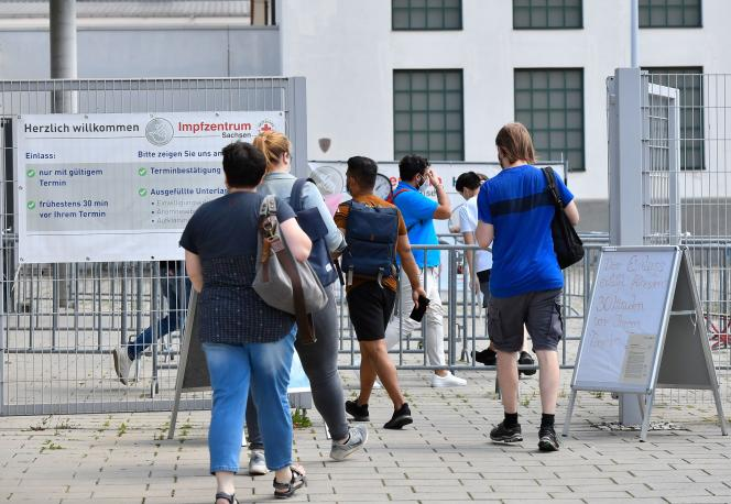 Outside the Vaccine Center in Dresden, Germany on July 29, 2021.