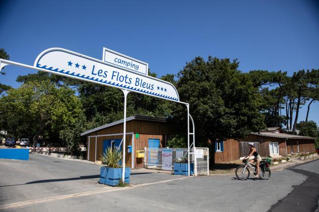 L'entrée du camping les Flots bleus, à Pyla-sur-mer, en Gironde, le 28 juillet 2021.