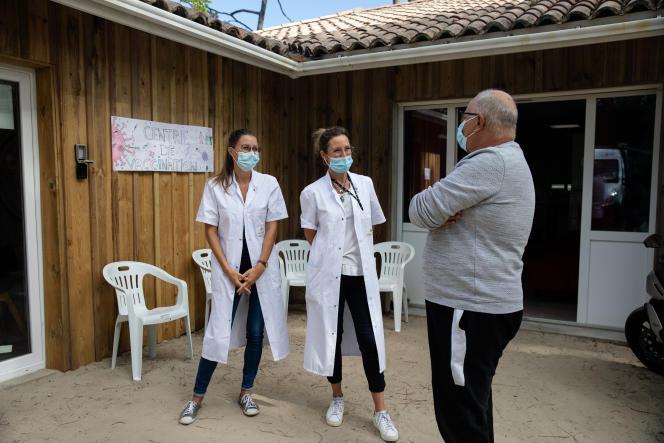 Au camping des Flots bleus, au pied de la dune du Pilat, en Gironde. Les vacanciers pouvaient s'y faire vacciner le 28 juillet 2021.