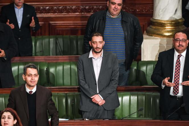 O deputado Yassine Ayari durante uma sessão da Assembleia em Túnis, em 15 de fevereiro de 2018.
