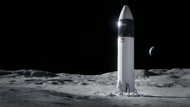 Cette illustration fournie par SpaceX montre l'alunisseur qui devrait permettre d'envoyer des astronautes sur la lune en 2024, dans le cadre du programme Artemis de la NASA.