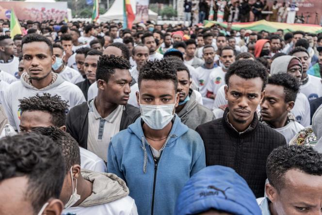 Les nouvelles recrues des forces militaires éthiopiennes, àAddis-Abeba, le 27 juillet 2021.