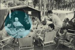 Vacances au camping, près de St Tropez (Var), en juillet 1978.