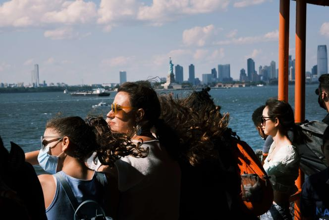 On the Staten Island ferry, July 30, 2021 in New York City.