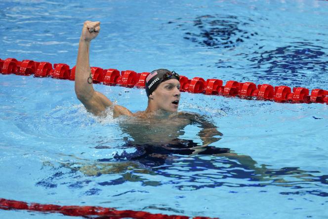 Caeleb Dressel après sa victoire en 50 mètres, dimanche 1er août à Tokyo.