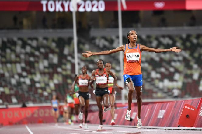 Sifan Hassan, lors de sa victoire au 1500m des Jeux olympiques de Tokyo, lundi 2 août.