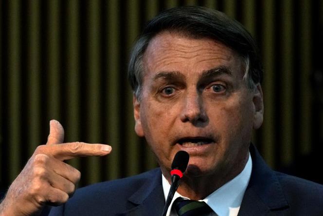 Jair Bolsonaro s'exprime durant une cérémonie à Brasilia, au Brésil, le 2 août 2021.