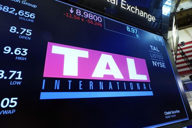 TAL Education Group, coté aux Etats-Unis, accuse un repli boursier de plus de 50 %, le 23 juillet 2021, à New York.
