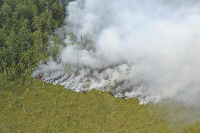 Vue aérienne d'un feu de forêt dans le district de Pryazhinsky de la République de Carélie, en Russie, le 21 juillet 2021.