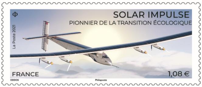 « Solar Impulse. Pionnier de la transition écologique», timbre créé par Eloïse Oddos (d'après photo ©SolarImpulse/Rezo-Jean Revillard).