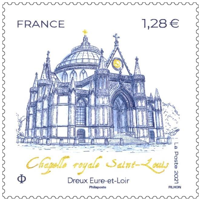 « Chapelle Royale Saint-Louis. Dreux. Eure-et-Loir», dessiné et gravé par Line Filhon.