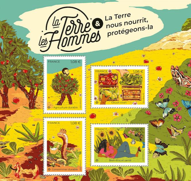 Bloc de quatre timbres« La Terre & les hommes», dessiné par Emilie Seto.