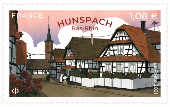 « Hunspach. Bas-Rhin», timbre créé par David Lanaspa (d'après photos © Jean Isenmann/Onlyfrance.fr).