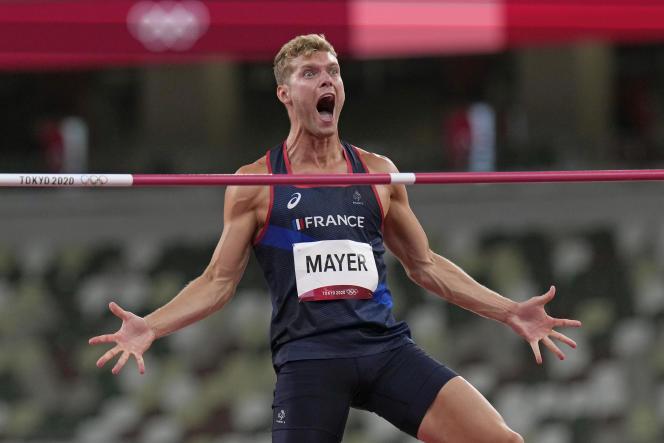 Le Français Kevin Mayer, lors de l'épreuve du saut en hauteur, mercredi 4 août 2021 à Tokyo.