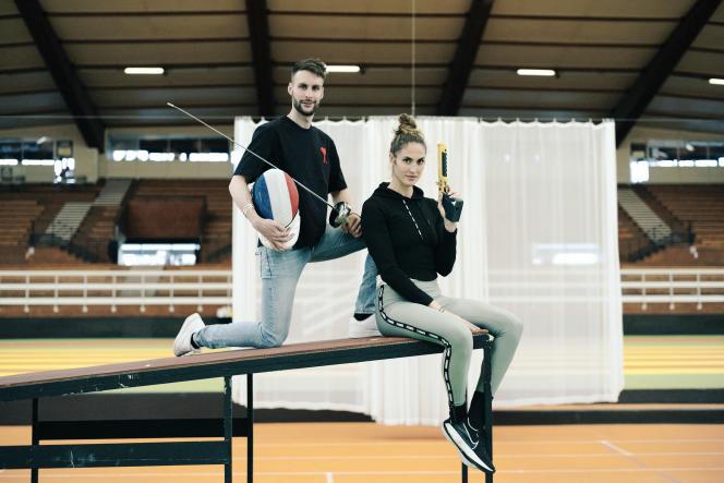 Elodie Clouvel et Valentin Belaud, champions français de Pentathlon moderne, le 17 mai 2021 à l'INSEP à Paris.