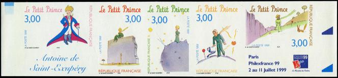 Version de 1998 pour ces timbres sur «Le Petit Prince», dessinés par Charles Bridoux d'après Saint-Exupéry, bande non dentelée (variété d'impression), vente sur offres Cérès philatélie de juillet 2021, cotée 4500 euros tout de même...