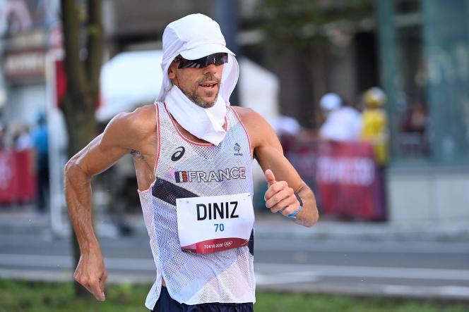 Yohann Diniz n'a pas pu aller au bout du 50 km marche, vendredi 6 août 2021, au Japon.