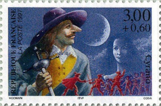 « Cyrano de Bergerac», timbre paru en 1997 dessiné par Guy Coda (mise en page Serge Hochain).