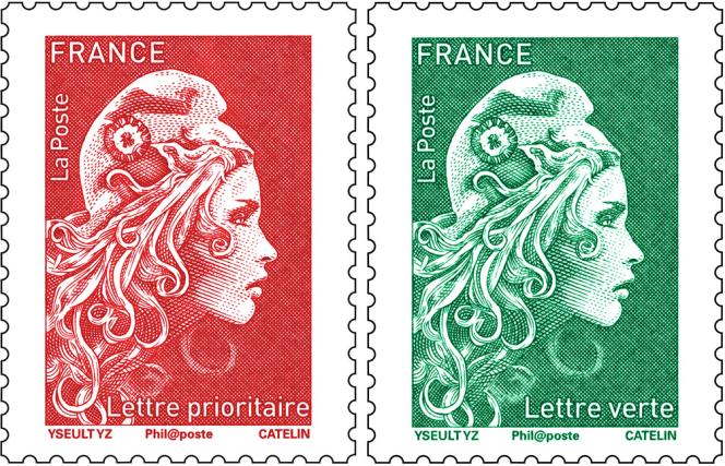 Timbre« Marianne» d'usage courant, tarif« prioritaire» (rouge) et tarif« lettre verte». Dessin :Yseult Digan YZ.Gravure : Elsa Catelin. Impression en taille-douce.