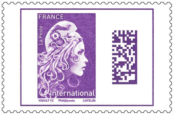 Tarif lettre pour l'international.Timbre « Marianne » d'usage courant, tarif « prioritaire » (rouge) et tarif « lettre verte ». Dessin : Yseult Digan YZ. Gravure : Elsa Catelin. Impression en taille-douce.