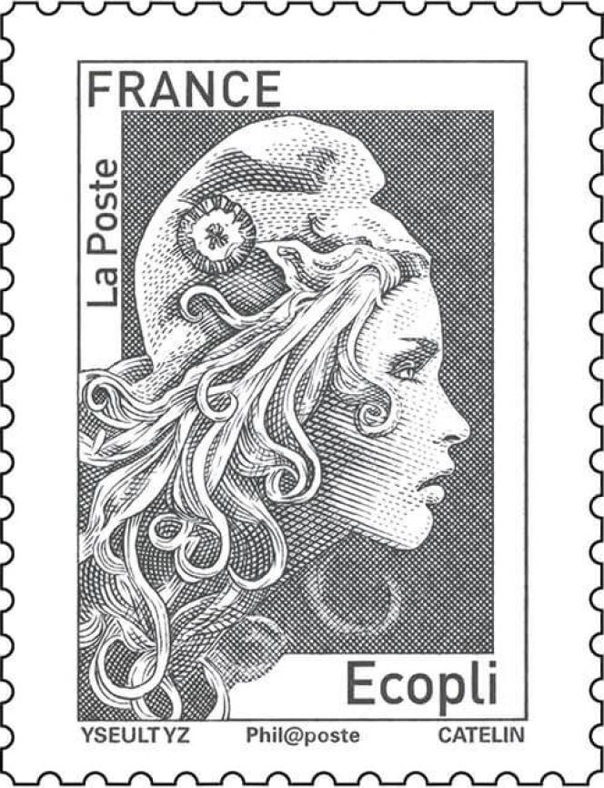 « Ecopli».Timbre « Marianne » d'usage courant, tarif « prioritaire » (rouge) et tarif « lettre verte ». Dessin : Yseult Digan YZ. Gravure : Elsa Catelin. Impression en taille-douce.