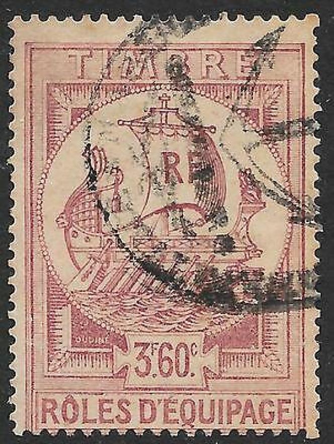 Timbre fiscal« Rôles d'équipage» au type« Galère».