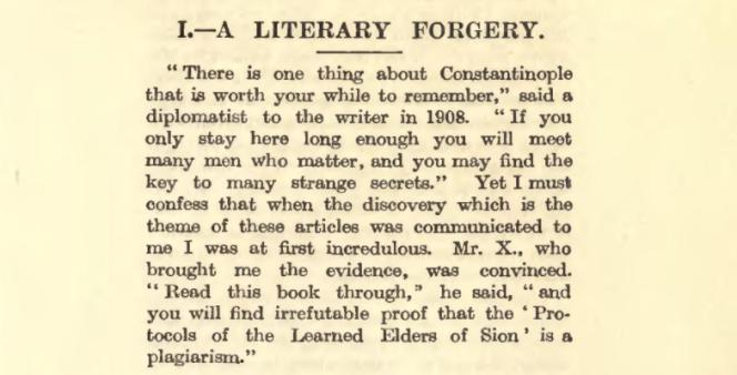 Dans un tryptique de trois articles réédité en fascicule, Philip Graves démontre que «Les Protocoles» sont une«falsification littéraire».