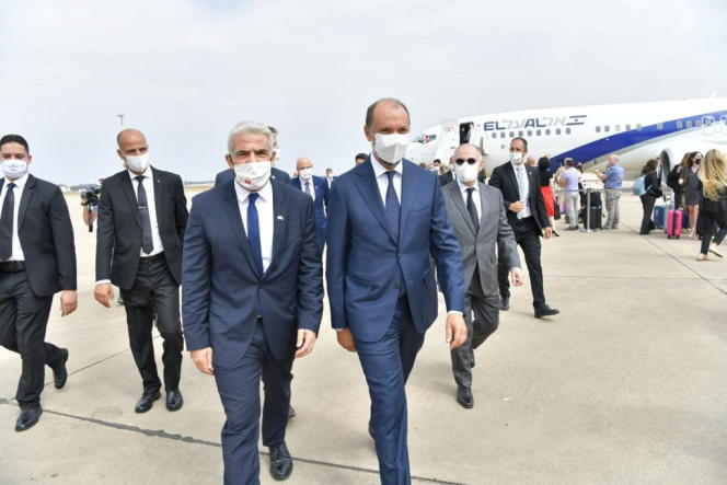 Arriving at the airport in Rabat, Morocco on August 11, 2021, Moroccan Foreign Minister Mohsin Jazli walked with a delegation of Israeli Foreign Minister Yair Labid.