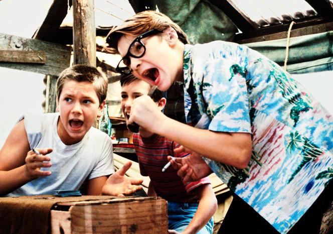 Les acteurs River Phoenix, Wil Wheaton et Corey Feldman dans« Stand by Me» de Rob Reiner.