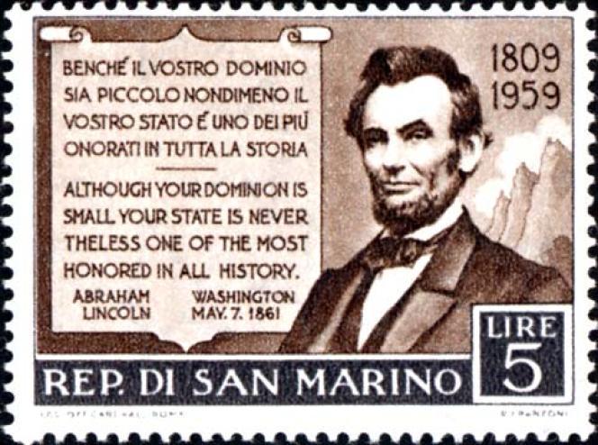 Lincoln, un des nombreux timbres de Saint-Marin à l'effigie du président américain.