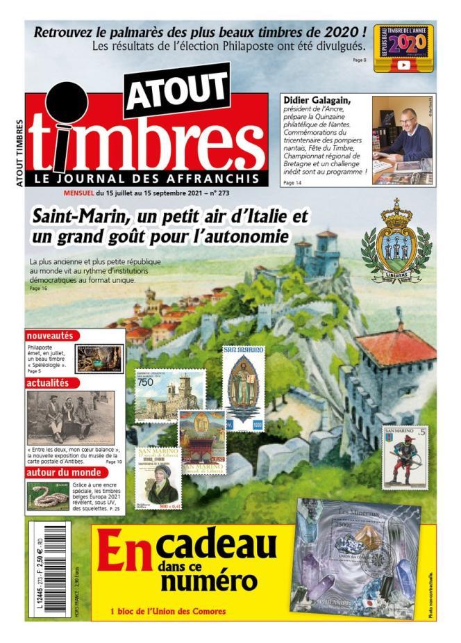 « Atout timbres », n° 273, 15 juillet-15 septembre, 32 pages, en vente en kiosques, 2,50 euros.