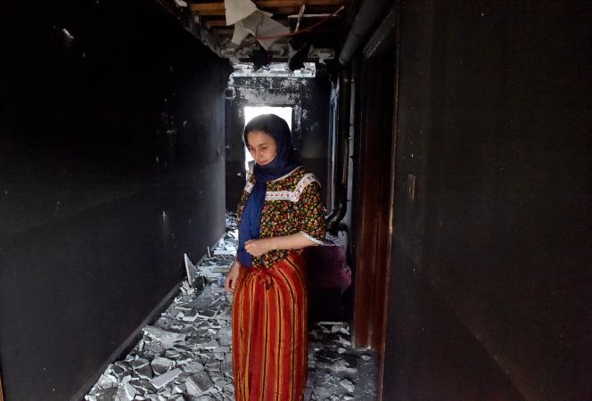 Een huis beschadigd door brand, in de regio van Ait Daoud (Algerije), 13 augustus 2021.