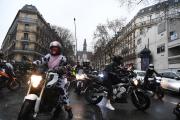 Manifestation de motards contre l'instauation du parking payant pour les deux-roues, le 6 février, à Paris.