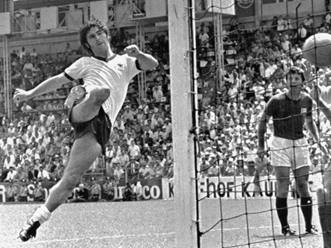 Gerd Müller, en quart de finale de la Coupe du monde de football au Mexique, le 14 juin 1970.
