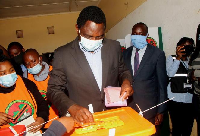 Hakainde Hichilema lors du scrutin présidentiel zambien, à Lusaka, lé 12 août 2021.
