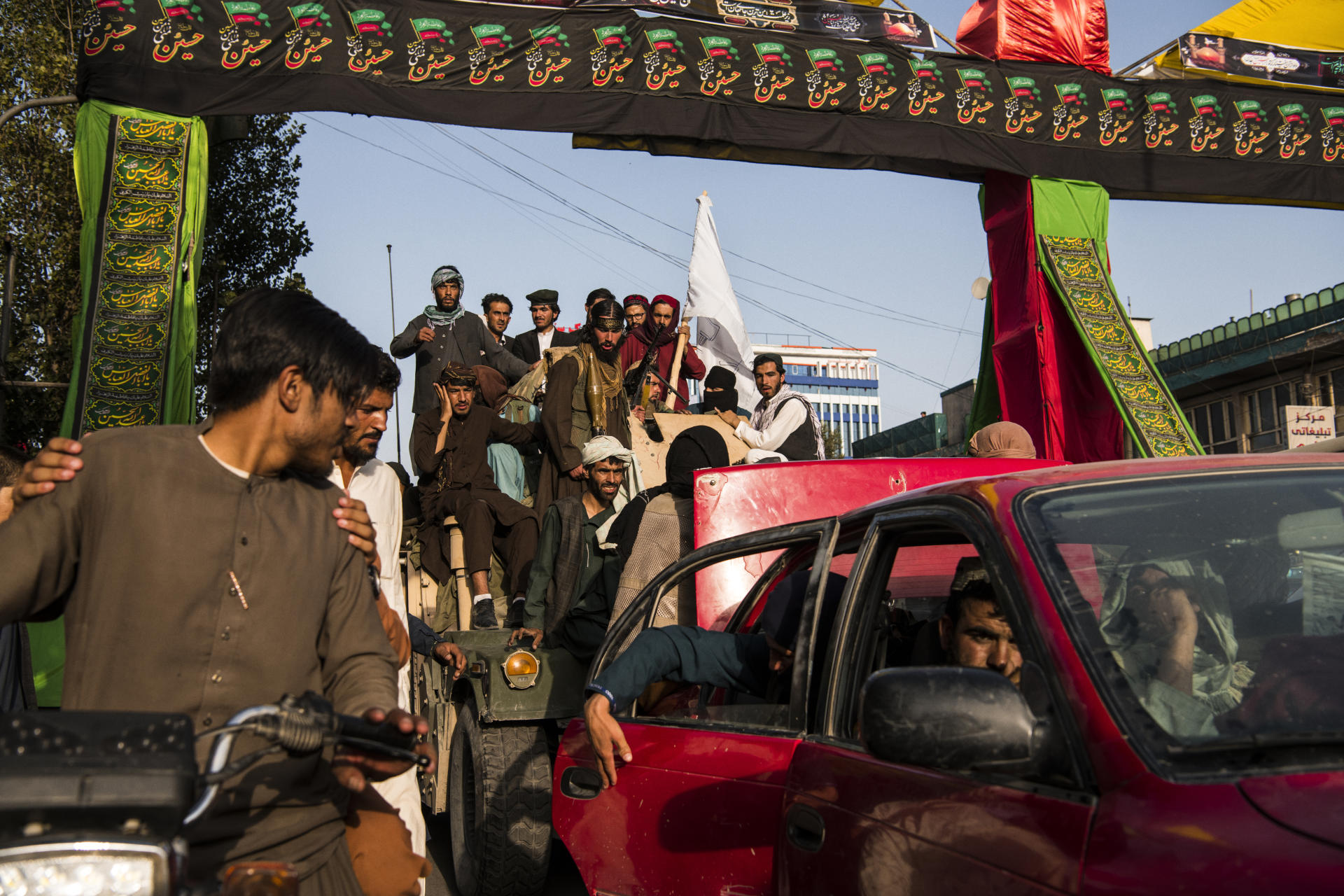 West Kabul, August 15, 2021 Welcomed by the Taliban crowd.