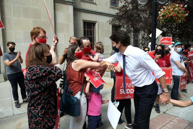 Justin Trudeau voert campagne in Ottawa, Canada, 15 augustus 2021.