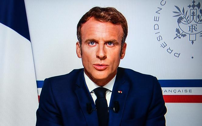 Emmanuel Macron during a televised speech from Formus-Les-Mimosas on August 16, 2021.